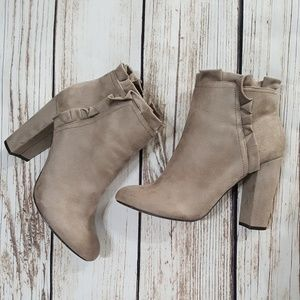 XOXO Faux Suede Heeled Booties | Size 9